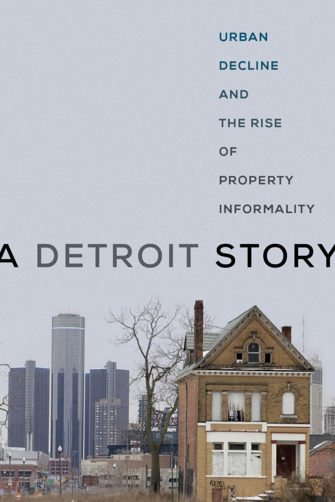 The cover of the book A Detroit Story depicting an abandoned house with the GM Renaissance Center towering in the background.